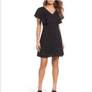 Chelsea28 Black Ruffle Fit & Flare Dress